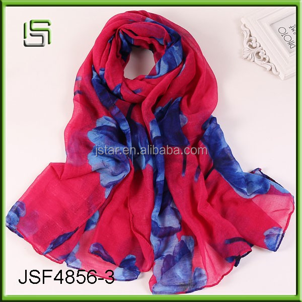 Long cotton and linen scarf and flowers scarves