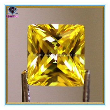 Fancy yellow square shaped cubic zirconia