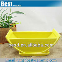 large size yellow ceramic square flower pot