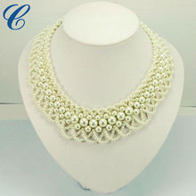 2014 Hollow Faux Pearl Handmade Collar Necklace