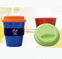 Food grade 12OZ insulated plastic coffee mug with Silicone lids and band