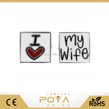 POYA Jewelry Make Your Own Style Metal Cufflinks,I LOVE MY WIFE Personality Couples Square Cufflinks For women In Hot Selling