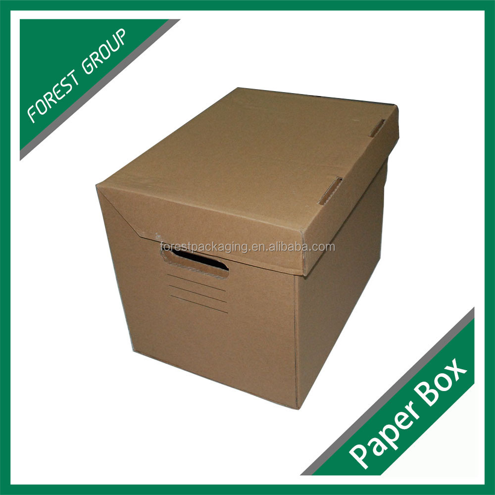 KRAFT FOLDER PORTABLE GROCERY STORAGE BOXES CARDBOARD ARCHIVE STORAGE BOXES