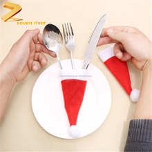 Christmas table decorations cute christmas cap knife and fork cover bag pants dinnerware case
