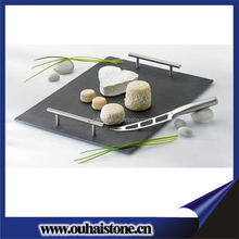 Party cheese cake boards stone material slate serving tray with stainless steel handles