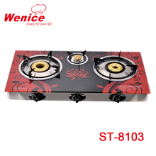 INDIA THREE BURNER GAS STOVE GAS COOKER WITH GLASS TOP
