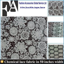 New Fashion Chemical Lace / Guipure Lace / Cupion Lace Fabric hot selling blue color nylon guipure lace fabric