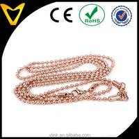Rose gold stainless steel fittings link chain design rose gold ball chain