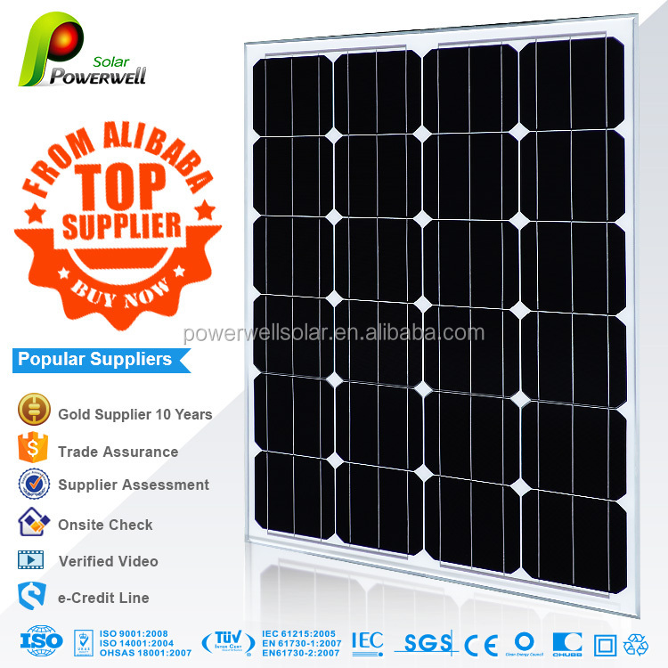Powerwell Solar 30w 50w 65w 75w 80w 100w 210w 260w 310w Solar Panel Wholesale Price