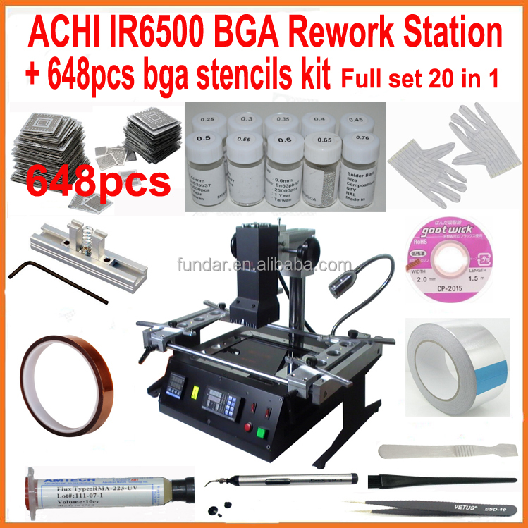 Original ACHI IR6500 BGA rework station with full set bga reballing kit 648pcs bga stencils for laptop xbox360 ps3 WII repair