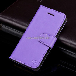 purple pu leather flip case for iphone 7 with two card slots