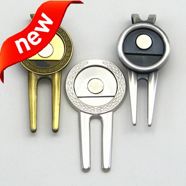 US653 Multifunctional various logo enamel hat clip ball marker & divot tool golf club for wholesales