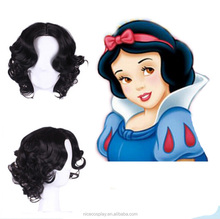 Cosplay Cartoon Snow White Princess Short Black Body Wave Hair synthetic Full Lace Wigs
