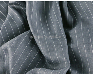100% vintage delave linen fabric for garment stripe