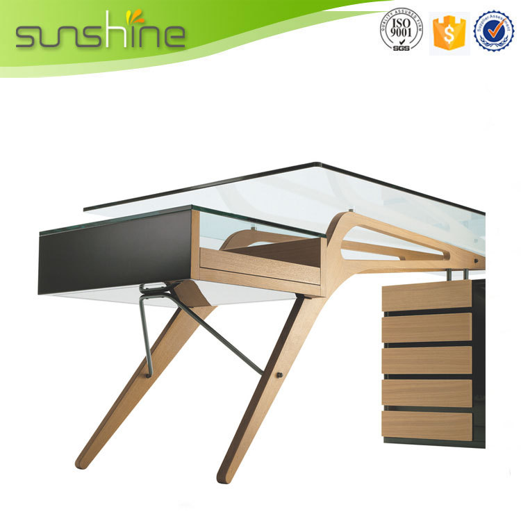 China Wholesale Office Furniture Melamine Panel Metal Glass Computer Office Desk Modern Table Design