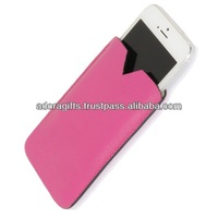Nice pink color leather lady mobile pouch / oem design ladies mobile cover / custom pu leather cell phone cover