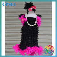 2013 wholesale Newest lace dress with feather charming design young dresses 3 years baby dress