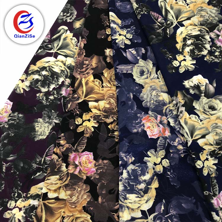 stock lot polyester jacquard rose flower digital print chiffon fabric digital printing wholesale