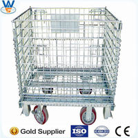 Wire mesh storage cage container with wheel castors