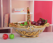 muslim golden frosted ceramic fruit basket decoration wholesale