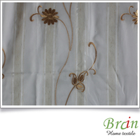 2016 poly linen embroidered sheer voile curtain fabric