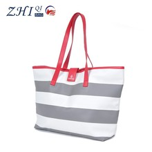 ZQ-J-032 Dongguan PU factory manufacture BSCI waterproof promotional stripe shopping tote bag