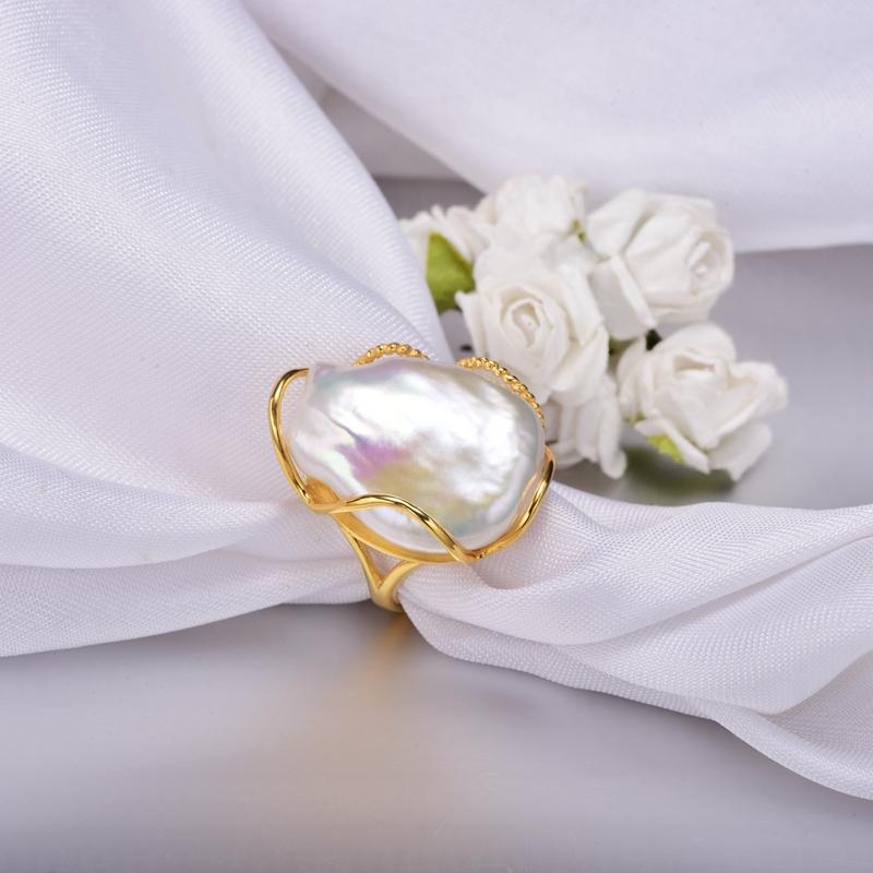 Unique luxurious baroque style irregular shaped pearl ring for women gift