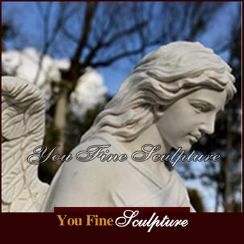 For Church Hand Carved White Marble Angel Statues