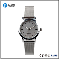 your logo custom silver watches stainless steel mesh band