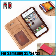 2016 Factory Price card slot leather back cover stand mobile phone case for Samsung galaxy S3 S4 S5 Note 3 4