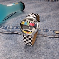 2016 New Arrive Black And White Grid Strap Fashion Design Face Wrist Watch Man Custom Watch