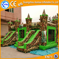 New party supplies kids camouflage inflatable castle slide for sale