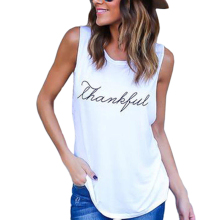 New Fashion Summer Sleeveless Plus Size Loose Letter Print T-Shirt Top