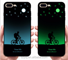 China popular fashion glow dark star sky luminous night light riding phone case for iphone X 6 7 8 plus bling soft Back cover