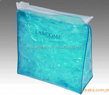 Heat Seal Clear Soft Plastic Standup Pouch Bags PVC Cosmetic Zipper Bags