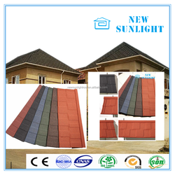 SONCAP Certificated material sheet mixed color stone coated steel roofing shingles