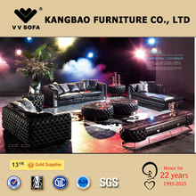 High-end leather living room furniture, genuine leather sofa set, chesterfield sofa