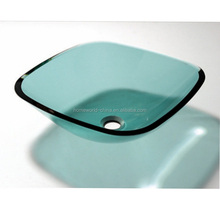 wholesale tempered square green glass vessel sink toilet vessel sink