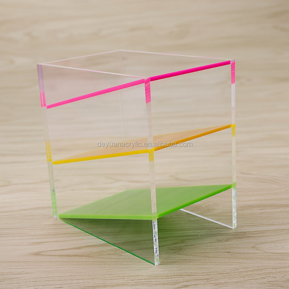 Acrylic Office Desk Organizer Black Acrylic Pen Holder