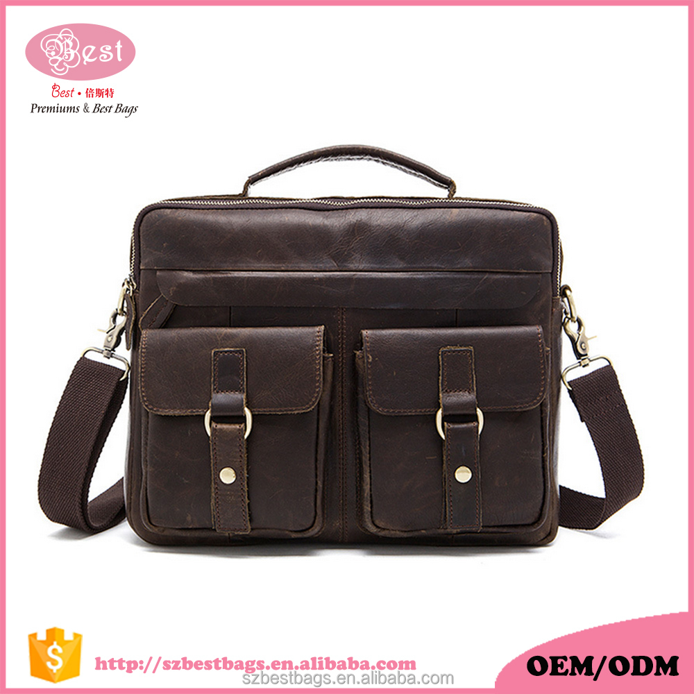 Cowhide Leather Men's Laptop Busienss Briefcase Shoulder Bags Messenger Bags