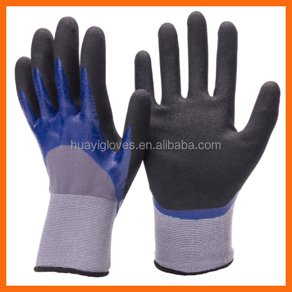 Seamless Knitted Nylon Liner Smooth Nitrile and Sandy Nitrile Grip Double Dipped Gloves for Mechanic Work