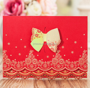 luxury paper craft wedding decoration traditional chinese red wedding Invitation Card