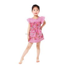 Popular in USA flutter sleeve plaid floral pattern cotton dress wholesale kids summer dress one-piece