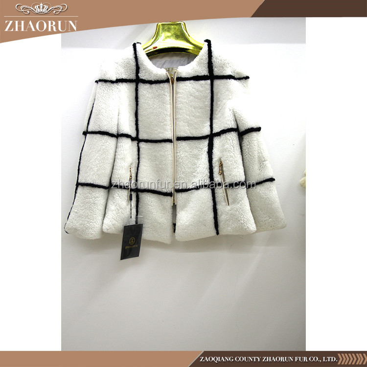 Best Quality Lady'S Fur Garment And Jacket White Sheepskin Fur Coat For Winter