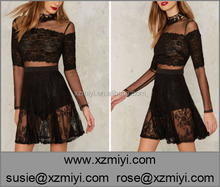 OEM factory good price black two pieces lace modal clothes dress