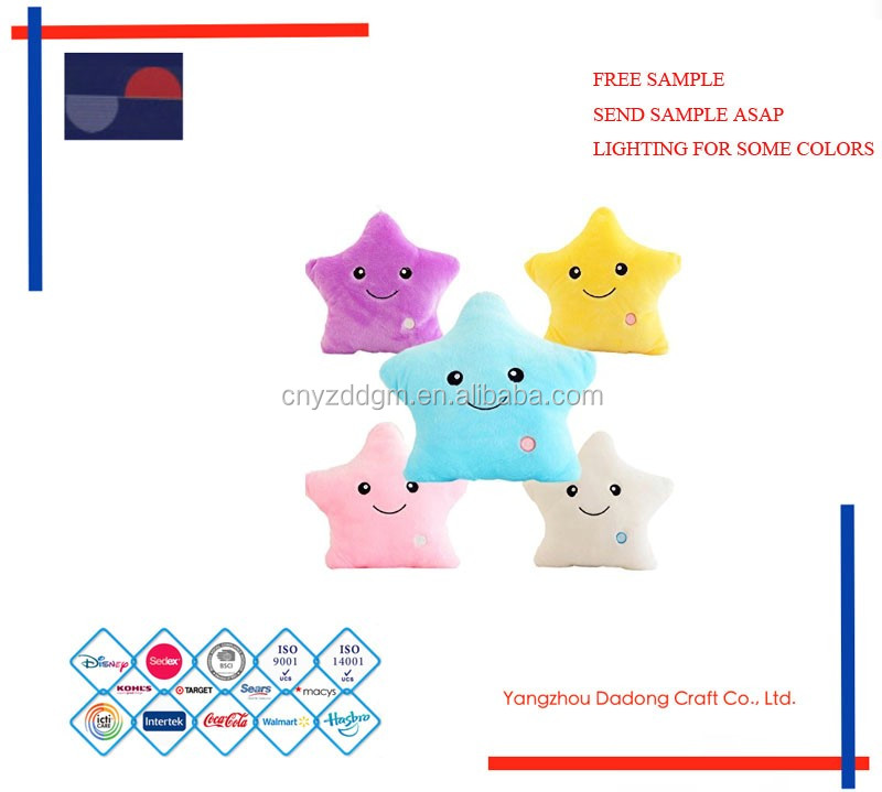Free sample led plush star/stuffed with shine star in dark