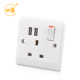 230V UK 13amp double switched socket with USB outlets