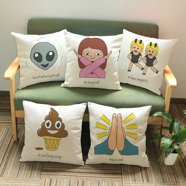 Funny Emoticon Emoji Digital Photo Print Fun Loving Gift for Her / Him Cotton Linen Custom Design Sleeping Pillowcase