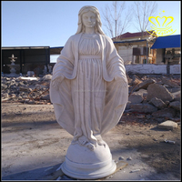 Garden decor White Marble Figure Stone Virgin Mary Statue for sale