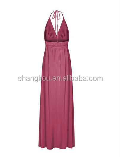 2015 Women Fashion Apparel Customized Sleeveless Bandeau Blank Color Chiffon Maxi Women Party Dresses